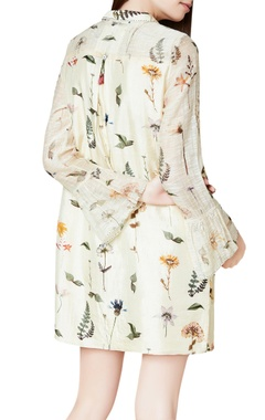 Cream cotton & silk hand embroidered shift dress