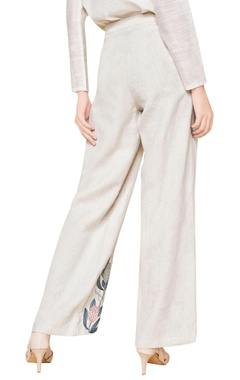 Off white linen hand embroidered trousers