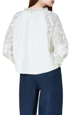 Off white cotton & silk hand embroidered gypsy blouse