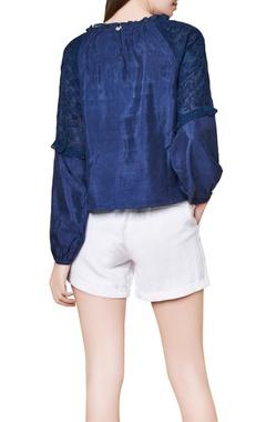 Indigo cotton & silk hand embroidered gypsy blouse