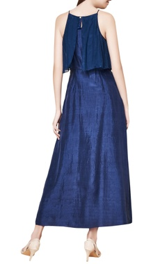 Indigo cotton & silk hand embroidered maxi dress