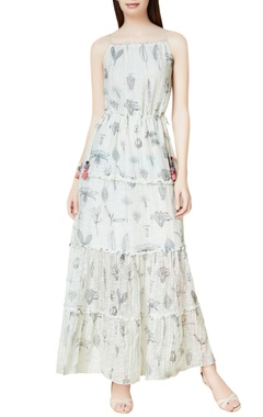 Off white cotton & silk hand embroidered tiered maxi dress