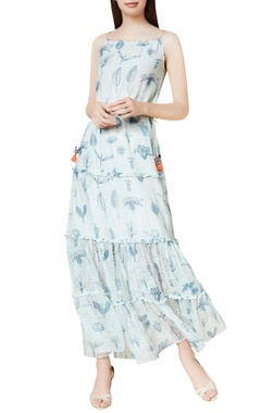 Indigo cotton & silk hand embroidered tiered maxi dress