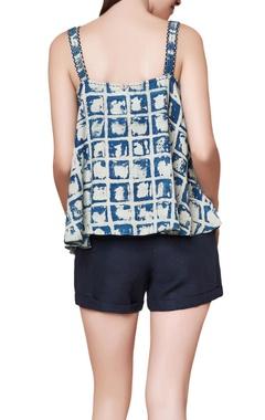 Indigo silk block print asymmetric blouse