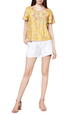 Yellow cotton & silk hand embroidered blouse