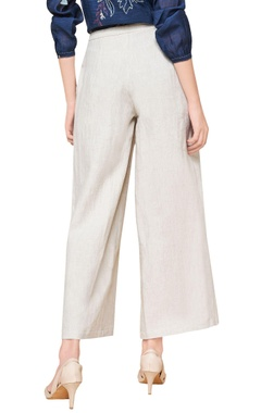 Natural white linen handwoven trousers