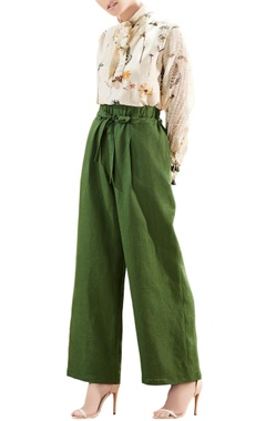 Olive green linen handwoven trousers