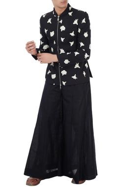 Vivek Karunakaran Black cotton linen tulip print jacket