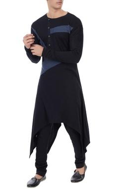 Vivek Karunakaran Black jersey color-blocked handkerchief hemline kurta