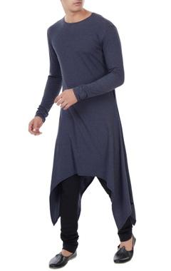 Vivek Karunakaran Grey jersey handkerchief hem kurta
