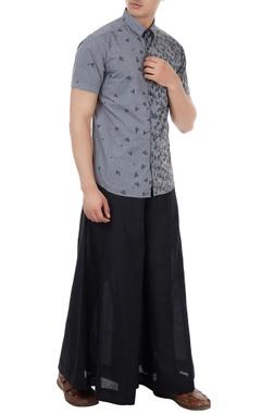 Grey poplin boat print shirt