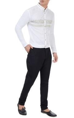 Vivek Karunakaran White cotton linen liberty print shirt with jersey sleeves