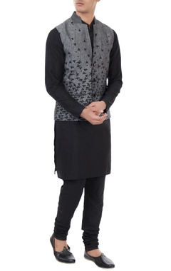Vivek Karunakaran Grey linen melange scattered print bundi