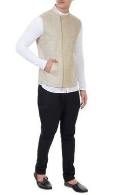 Vivek Karunakaran Beige tweed linen zippered bundi