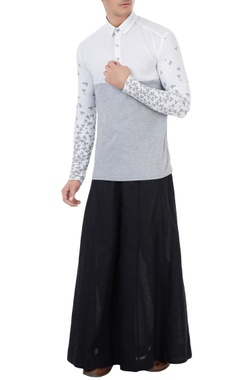Vivek Karunakaran White cotton linen scattered boat print shirt