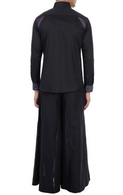 Black poplin color-blocked shirt