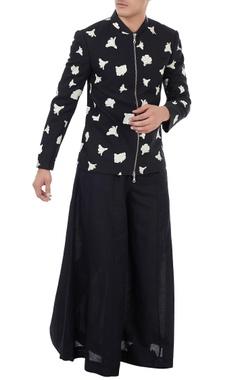 Vivek Karunakaran Black cotton linen panelled flared pants