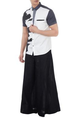 Vivek Karunakaran White poplin deconstructed print shirt