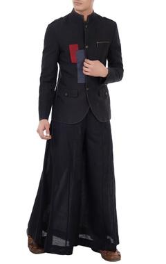 Black linen color-blocked & applique work blazer