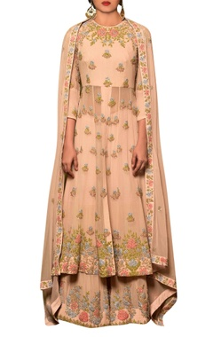 Pastel pink chiffon machine & hand embroidered kalidar kurta with gharara & dupatta