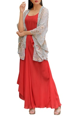 Coral red & pastel blue crepe & georgette machine & hand embroidered draped dress with kimono overlay