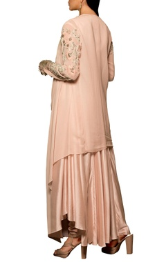 Pastel pink modal silk & georgette machine & hand embroidered bias dress with draped overlay