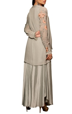 Pastel blue modal silk & georgette machine & hand embroidered bias dress with draped overlay