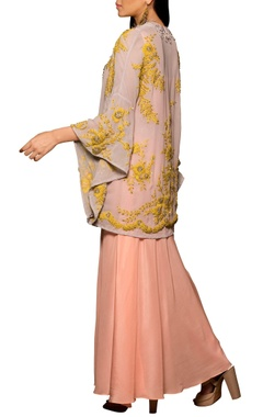 Purple & pink crepe & georgette machine & hand embroidered draped dress with kimono overlay