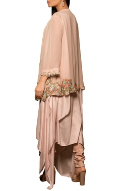 Pastel pink modal silk & georgette machine & hand embroidered asymmetric draped kurta with pleated overlay & churidar