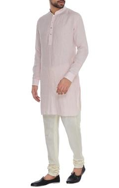 Bubber Couture - Men Baby pink linen shirt style kurta