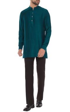 Bubber Couture - Men Peacock green criss-cross jacquard shirt kurta