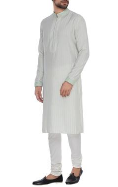 Bubber Couture - Men Off-white & blue dori embroidered kurta set