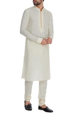 Bubber Couture - Men Off-white & saffron cotton kurta set
