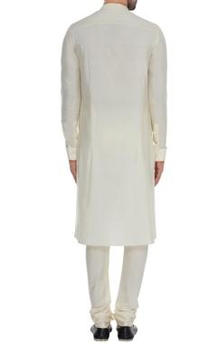 Off-white & saffron cotton kurta set