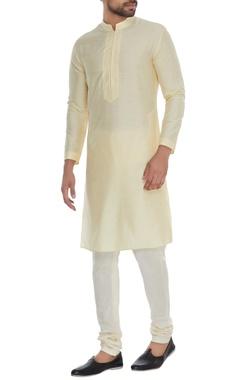 Bubber Couture - Men Yellow minimal cotton silk kurta with churidar