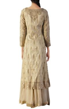 Off-white brocade silk embroidered kurta set