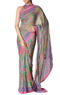 Emerald green & purple printed chiffon sari with blouse
