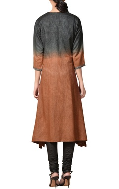 Brown & black noile silk embroidered asymmetric kurta set