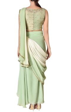Mint & off-white asymmetric sari dress with pre-stitched pallu