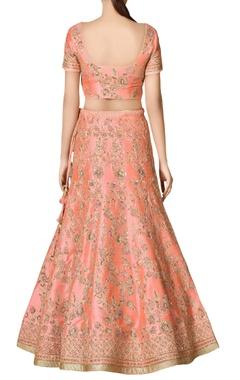 Peach zardozi embroidered bridal lehenga set