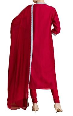 Red chanderi silk embroidered kurta set