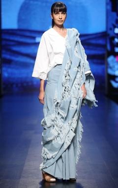 Blue denim hand distressed sari pant