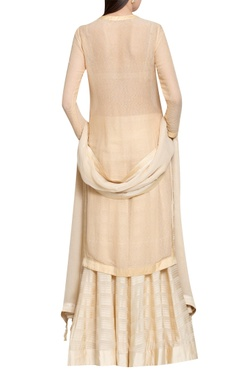 Beige cotton viscose & georgette hand embroidered kurta with lehenga & dupatta