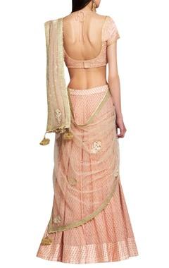 Peach pink georgette & block printed silk voil & silk thread, applique & sequin embroidered lehenga with blouse & dupatta