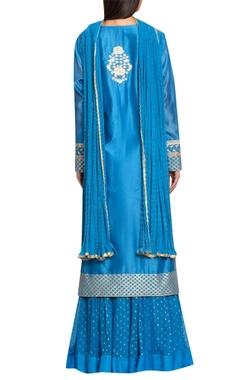 Blue chanderi & georgette gota thread embroidery kurta with lehenga & dupatta