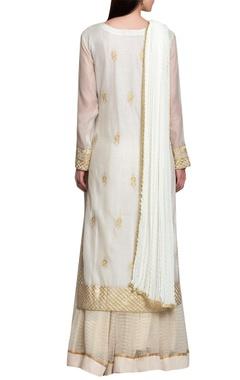 Off white chanderi georgette gota thread embroidery kurta with lehenga & dupatta