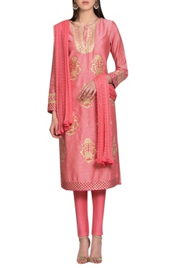 Pink block printed chanderi & cotton thread embroidered kurta with churidar & dupatta