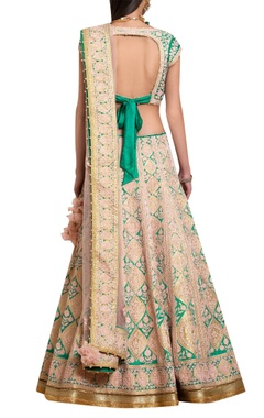Peach & green raw silk applique & thread embroidered lehenga set