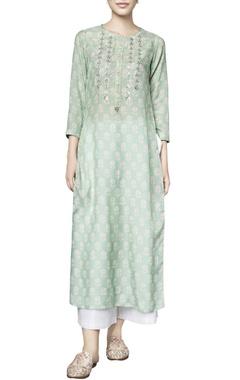 Sage green silk printed talia straight kurta