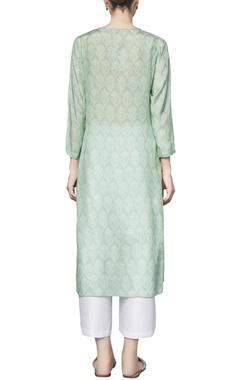 Mint green silk printed varisha straight kurta